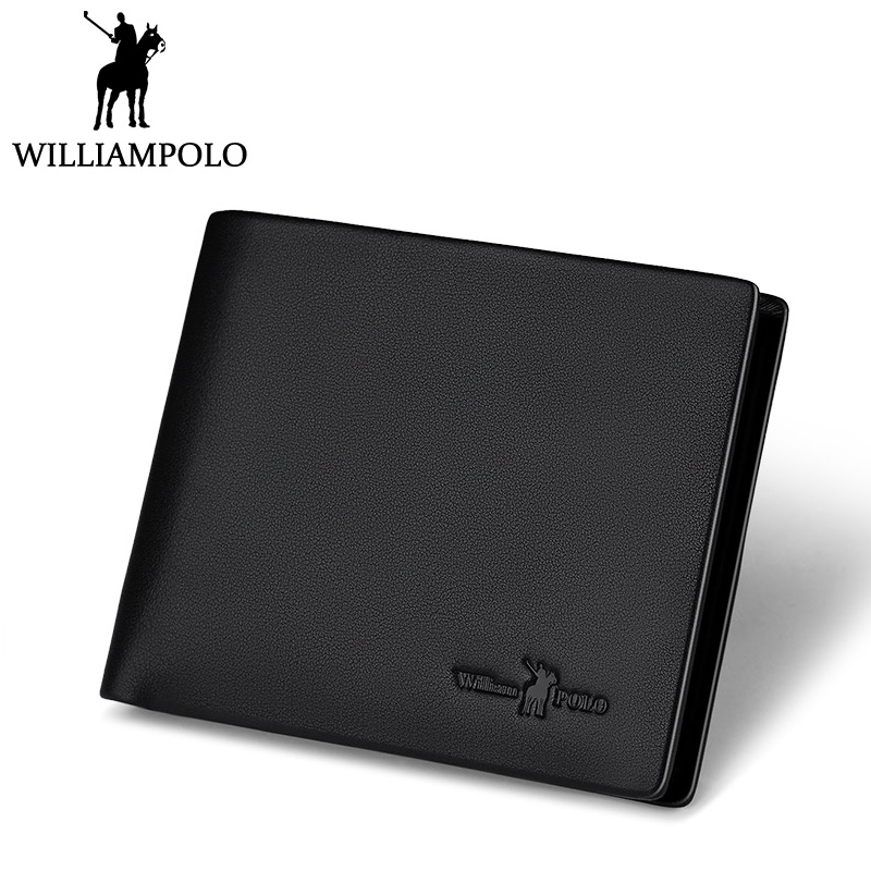 WilliamPOLO Short Slim Wallet Leather Men Minimalist Wallet Purse Fashion Brand New Cowhide Purse with removable card holder цена