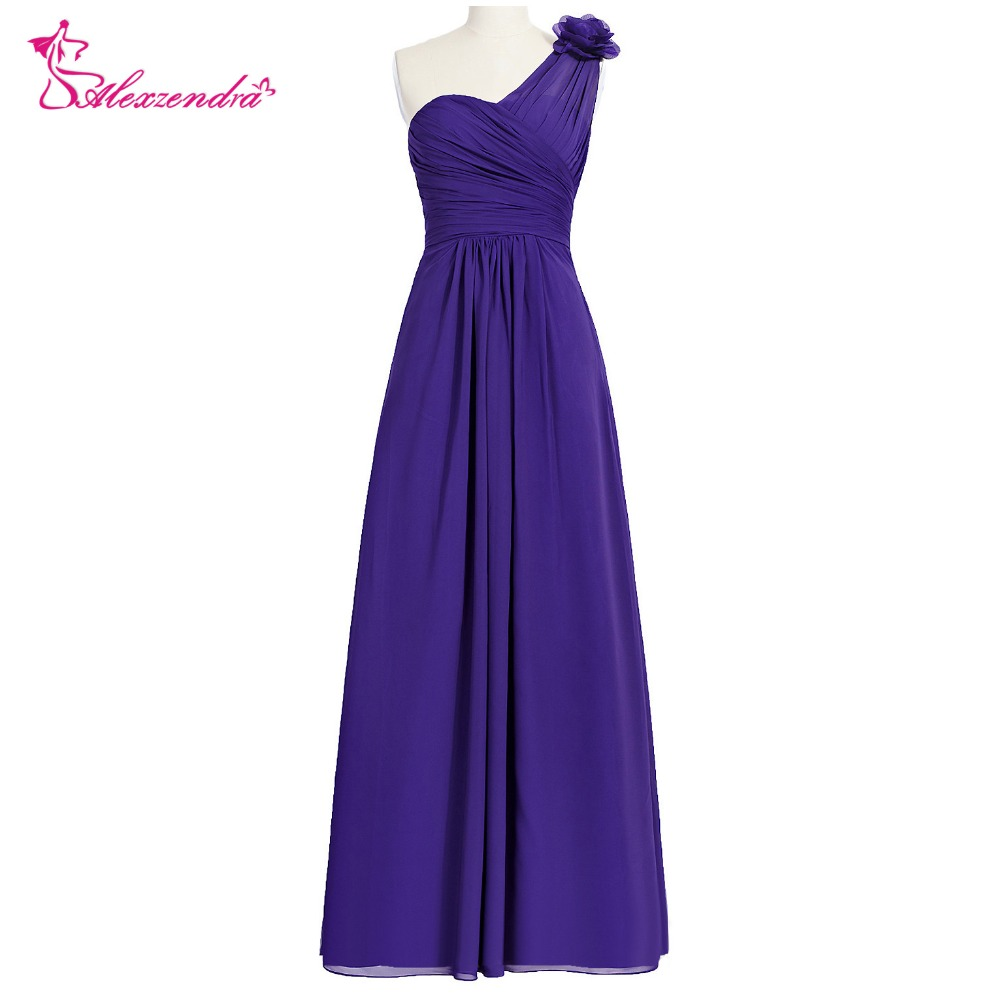 Alexzendra A Line Chiffon Cheap One Shoulder Purple   Bridesmaid     Dress   for Wedding Sweetheart Simple Party Gown