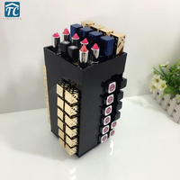 360 degree Rotating 40 Grid Lipstick Storage Box Acrylic Transparent Makeup Organizer Cosmetic Display Stand Lipstick Holder