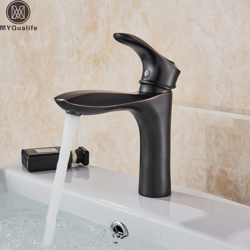 все цены на Fashion Style Bath Basin Faucet Cold and Hot Water Taps Black Single Lever bathroom mixer Deck Mounted Vessel Sink Tap онлайн