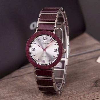 BOBO BIRD Womens Watches Waterproof Ultra-thin luxury Top brand Business Quartz Wooden Wristwatch For Woman relojes mujer 2020