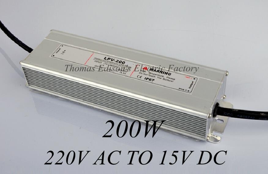 DIANQI waterproof power supply 220V AC TO 15V DC 200w 15v power suply LED Strip light ac to dc power supply