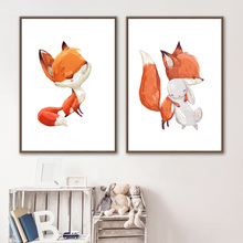 Watercolor Fox Bunny Wall Art Canvas Posters And Prints Painting Nursery Poster Nordic Pictures For Kids Room Decor
