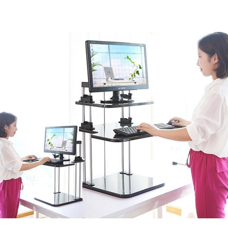 Charitable Yn59 Foldable 3 Layer Computer Table Adjustable Laptop Desk Free Lifted Standing Desk Workbench Bracket Elegant Shape