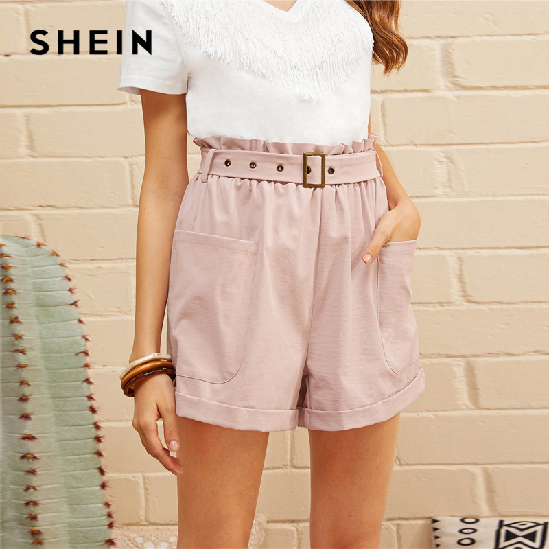 SHEIN Paperbag Waist Patch Pocket Belted Cuffed   Shorts   Pink Solid Belted Wide Leg   Shorts   2019 Casual Summer Women   Shorts