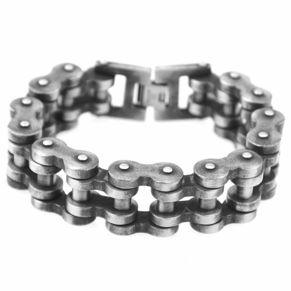23.5mm Width Punk Retro 316L Stainless Steel Bracelet Men Biker Bicycle Motorcycle Chain Men's Bracelets & Bangles opk biker stainless steel men bracelet