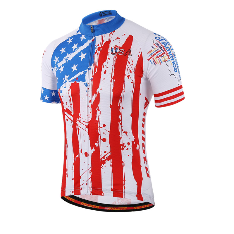 USA Style Mens Racing Cycling Jersey Tops Ropa Ciclismo Short Sleeve mtb  Bicycle Cycling Clothing Breathable Bike Jersey Shirts fdd3292a4