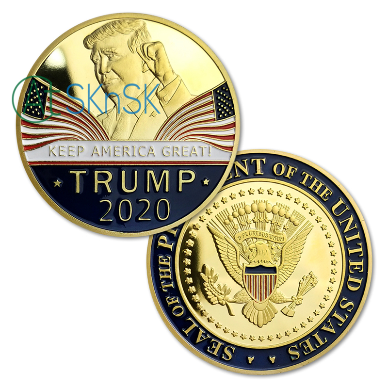 Trump 2020  Presidential Reelection Slogan KEEP AMERICA GREAT ! Challenge Coin Gold Plated Souvenir Coins