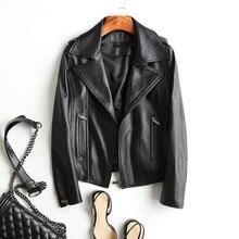 Women Genuine Leather Jacket Motorcycle Short Natural Sheepskin Coat Female 2019 Autumn Streetwear Real Leather Jackets YQ358