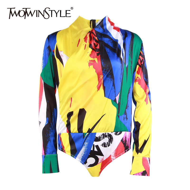 TWOTWINSTYLE Printed Bodysuits For Women V Neck Long Sleeve Hit Colors Fashion Women's   Jumpsuit   2019 Spring Fashion Clothes