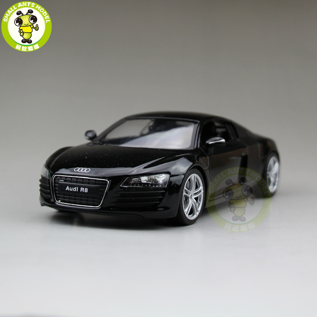 124 Audi R8 V10 Welly 22493 Diecast Model Car Black In Diecasts