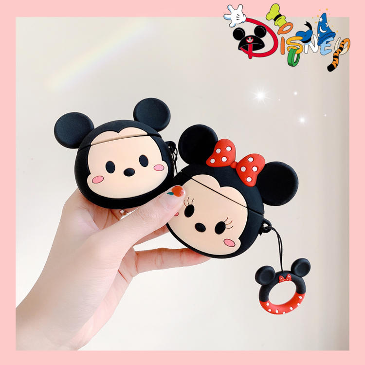 Cute Cartoon Minnie Mickey Mouse Wite Anti-lost Lanyard Earphone Case For Apple Airpods 1 2 Silicone Protection Headphone Cover