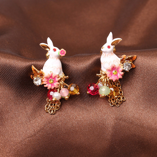 French Les Nereide Paris Enamel Earrings For Women 925 Silver Needle Cute Animal Rabbit With short Tassels Luxury Jewelry