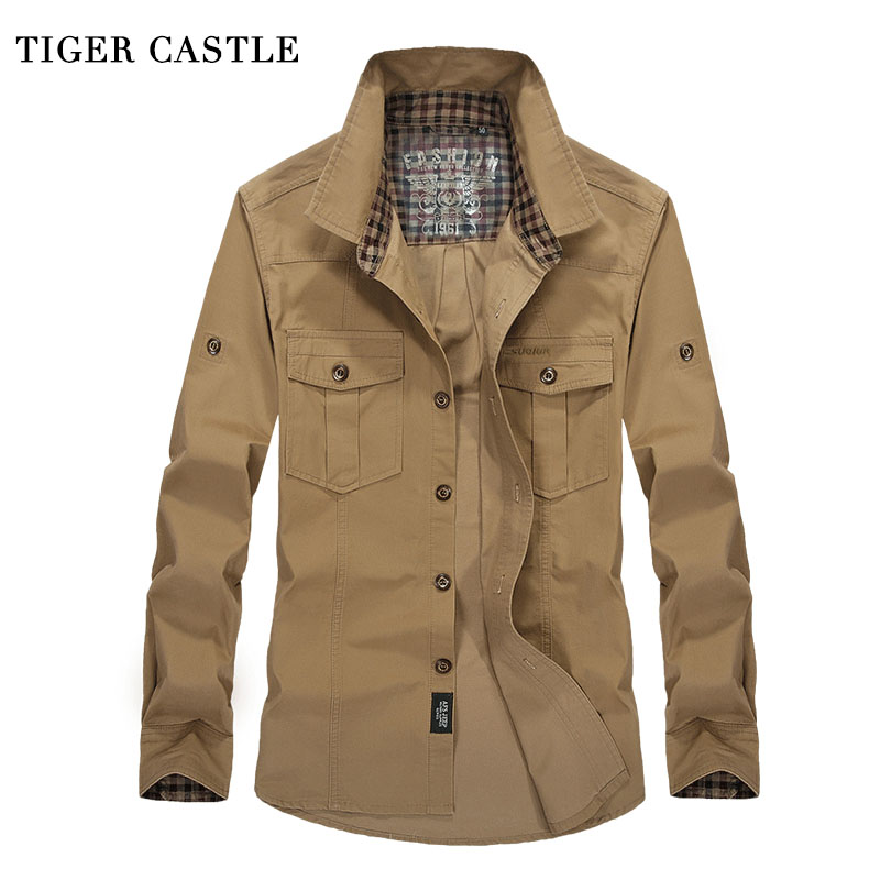 TIGER CASTLE Heren overhemd met lange mouwen Baggy heren katoenen shirt Khaki Military Male Casual lente Autumn Social Shirts