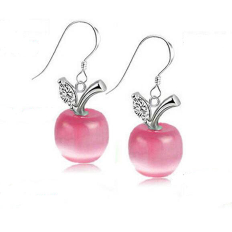 Cute Sweet Korean Style Pink Opal Apple Earrings For Women Fashion Earrings With Opal Stones Earrings Hanging Jewelry