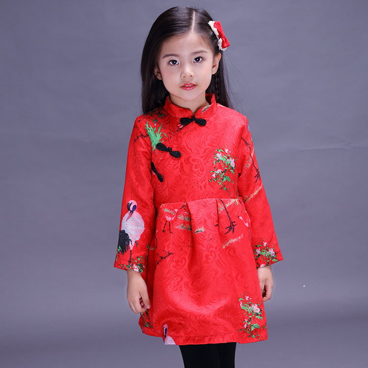 9032ad56e2b25 NEW Chinese Style Traditional Girls Winter Dress Child Tang Suit Kids  Printing Cheongsam Baby Princess Dresses Robe Baby Qipao