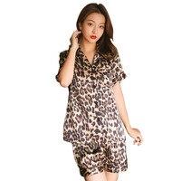 Sexy Summer Pajamas Sleepwear Women Sleeveless Spaghetti Strap Nightwear Leopard Print Satin Cami Top Shorts Pajama Sets