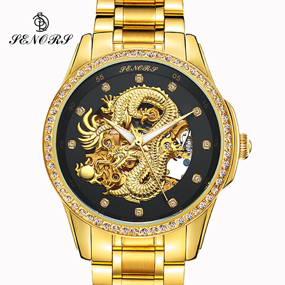 цена Anniversary Edition Gold Watches Men 3D China Dragon Mechanical Skeleton Rhinestones watch men Wrist Watch Waterproof 30m онлайн в 2017 году