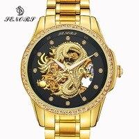 Anniversary Edition Gold Watches Men 3D China Dragon Mechanical Skeleton Rhinestones watch men Wrist Watch Waterproof 30m