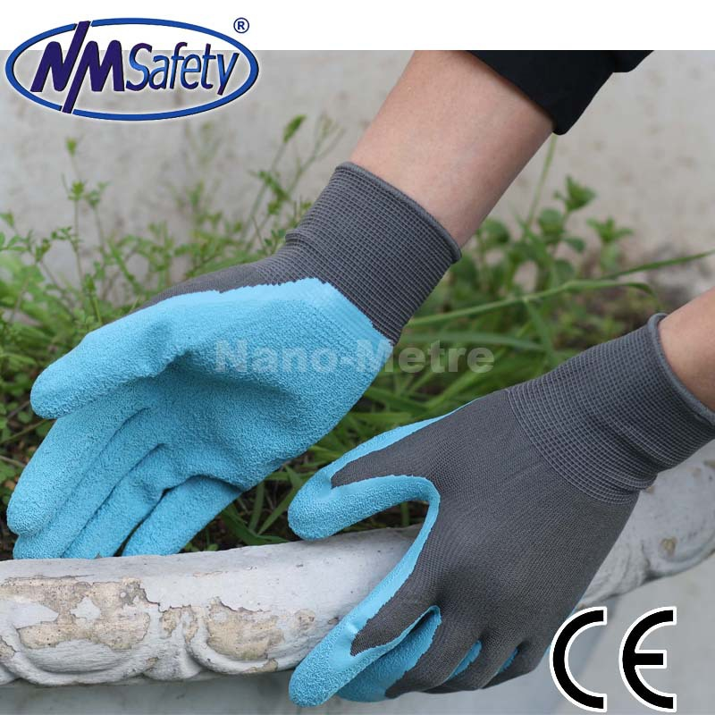 NMSAFETY 13G knit nylon/polyester liner palm latex coated safety industrial/mechanic gloves protective gloves for work ...