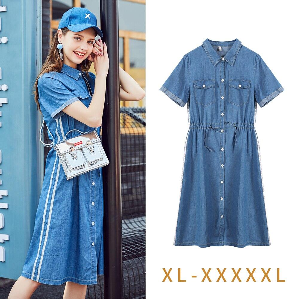 Zl089 Taille Robes Streetwear Décontracté Robe Denim À Manches Mode Chaude Style 2018 Dames D'été La Courtes Coréen Blue De Plus 0OknwP
