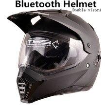 Helmet Headset Bluetooth Motorcycle Intercom Motorbike Riders Communication Kit double lens for knight good