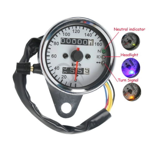 Motorcycle Universal LED Signal Light Backlight Dual Odometer Speedometer Gauge For Harley Honda Yamaha Cafe Racer in Instruments from Automobiles Motorcycles