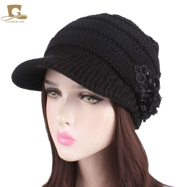 f8ff06e841d03 Women Cable Knit Newsboy beret Visor knitted beanie Cap Hat with Sequined  Flower Accent