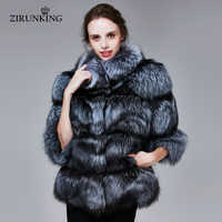 ZIRUNKING Winter Echt Silber Fuchs Pelz Mäntel Frauen Warme Natürliche Farbe Fuchs Pelz Jacke Weibliche Dicken Fuchs Pelz Mantel Kleidung ZC1719