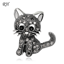 Vintage Metal Crystal Cute Cat Brooch For Women Rhinestone Collar Pins Corsage Pet Animal Brooch Badges Jewelry Accessories blucome shining big green flowers brooches for women vintage crystal brooch corsage women sweater hats scarf suit jewelry pins