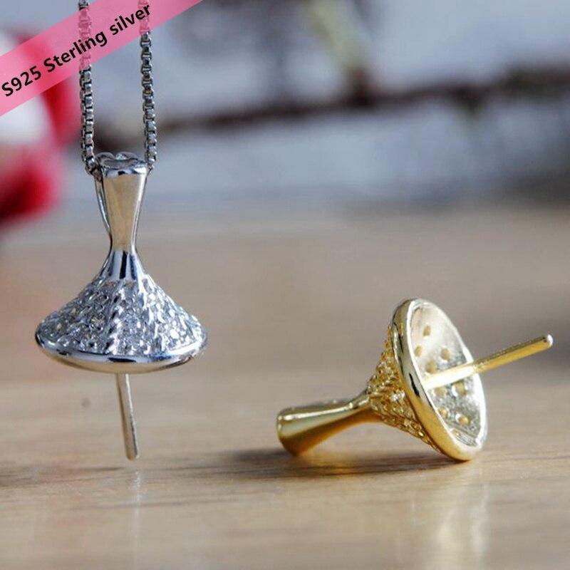 S925 Sterling Silver Hat Pendant Holder Women DIY Pearl ...