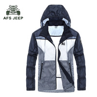 AFS JEEP Hot Selling 2017 High Quality Skin Coat Men Fashion Patchwork Jacket Summer Tide Male