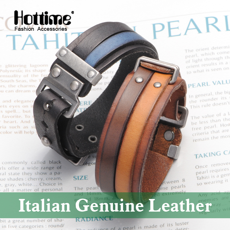 Hot Italian Genuine Leather Cuff Double Wide Bracelet And Rope Bangles Brown For Men Fashion Man Bracelets Unisex Jewelry PG013 nidin 2017 men jewelry brown genuine leather bracelets