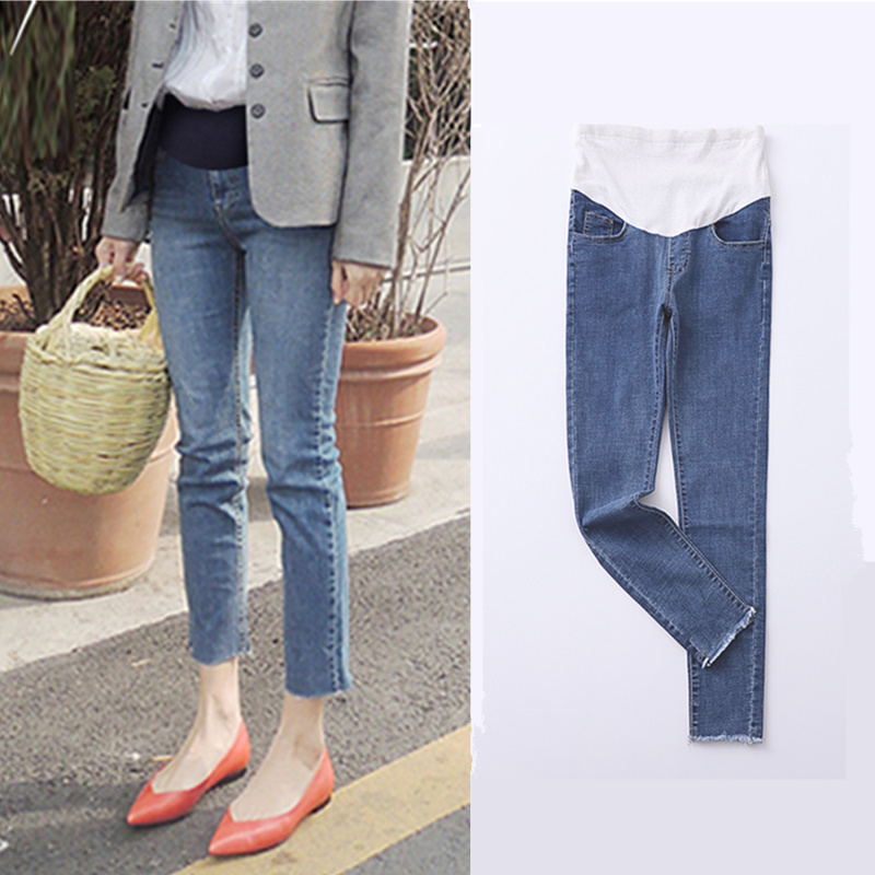 2018 winter maternity jeans for pregnant women denim skinny trousers nursing maternity clothes elastic waist pregnancy wangcangli seven point jeans summer new slim was thin jeans for women blue girls stretching skinny jeans elastic large size