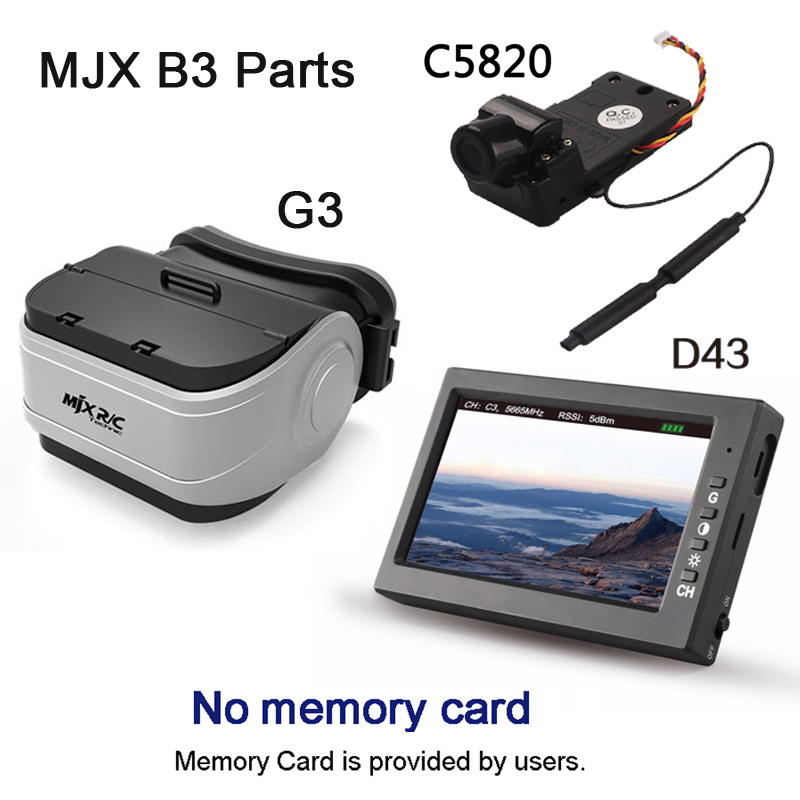 MJX D43 5.8G FPV Monitor 4.3 inch LCD Screen RC Brushless Drone Spare Parts with G3 Goggles fits for C5820 Bugs 3 C5830 Bugs 6 for mjx b3 bugs brushless rc drone 7 4v 1800mah 25c li po battery mjx b3 battery 1 3pcs batteries xt30