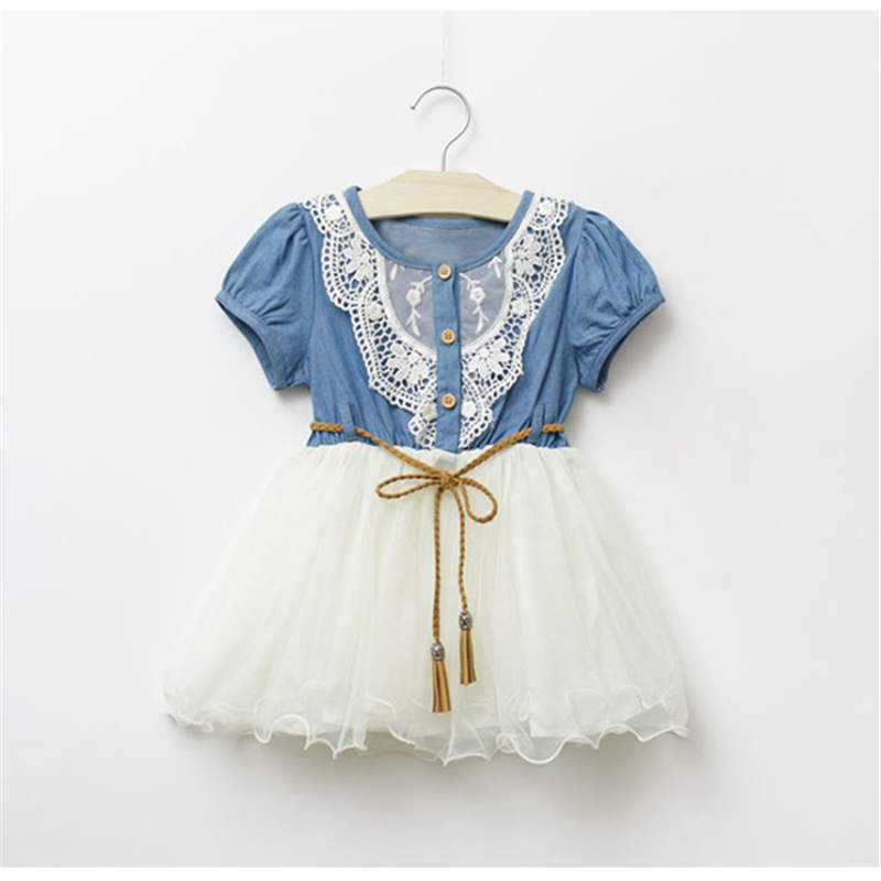 Dress For Girls New Baby Girl Clothes Denim Lace Dresses Tops White Children Tutu Dress Sundress Baby Clothes baby girl denim strap dress 2018 summer new suspender dress baby girl clothes denim sundress for girl children clothing cowboy