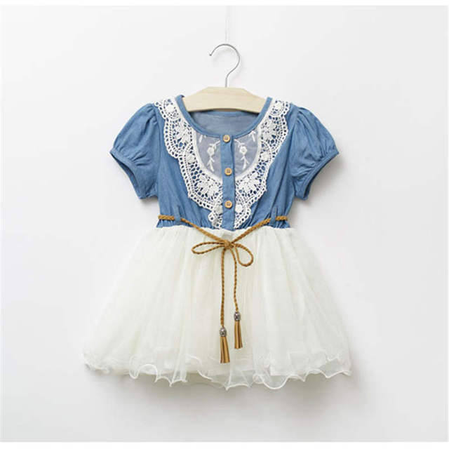 146f1f0be Dress For Girls New Baby Girl Clothes Denim Lace Dresses Tops White ...