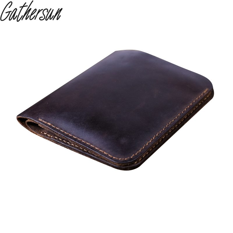 Gathersun Brand Handmade High Quality Men Genuine Crazy Horse Leather wallets Short Bifold Vintage Card Holder Purse Carteira gathersun the secret life of walter mitty retro wallet handmade custom vintage genuine wallet crazy horse leather men s purse