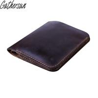 Handmade High Quality Men Genuine Crazy Horse Leather Wallets Short Bifold Vintage Card Holder Purse Carteira
