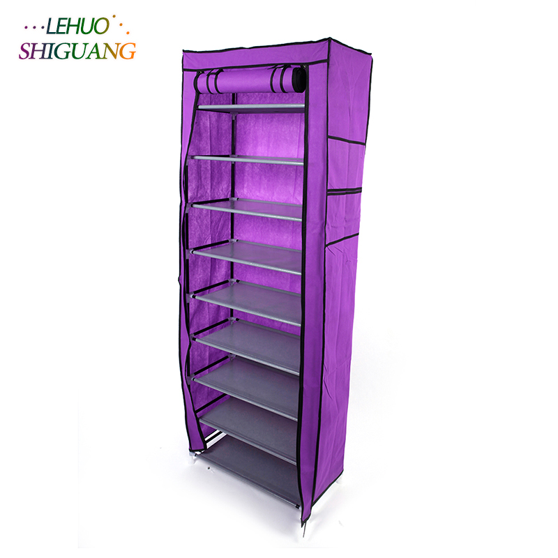 Single row 9 grid Shoe cabinet purple Non-woven organizer storage cabinet Assembly shelf Shoe rack home living room Furniture single row 9 grid shoe rack non woven fabric organizer storage cabinet assembly shelf shoe cabinet home living room furniture