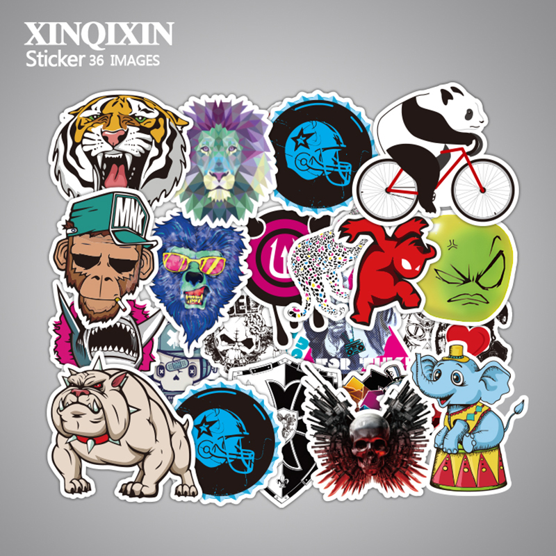 Mixed 50 PCS Cute Animal Sticker Luggage Skateboard Doodle Vinyl Decals Car Styling Laptop Bike Toy