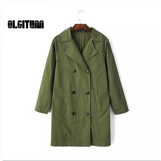 Moda Primavera y Otoño Mujeres Retro Delgado era delgada Medio largo Cazadora de Doble Botonadura abrigo chaqueta para las mujeres