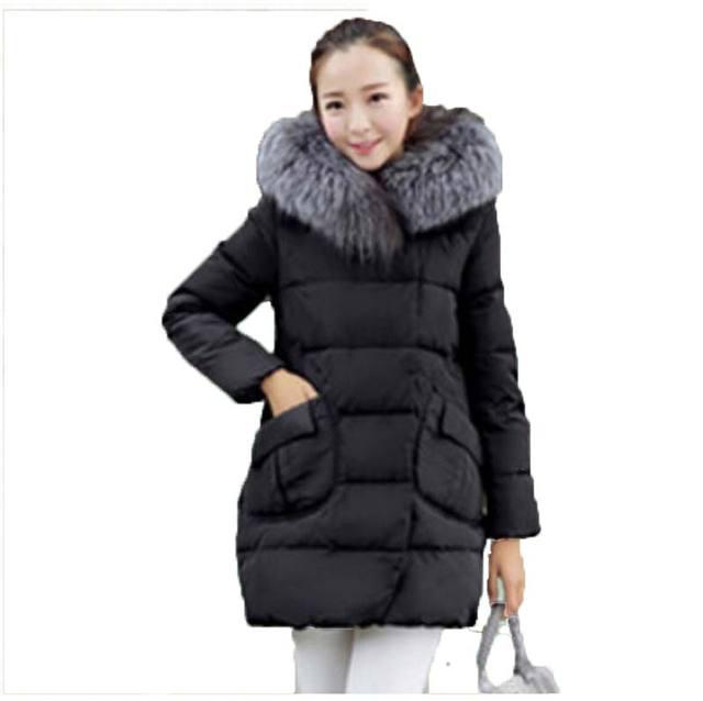 Новый 2016 зима теплая вниз Хлопка куртка Женщин Искусственного меха воротник Толстый Тонкий с капюшоном плюс размер Длинный пуховик Пальто AE680