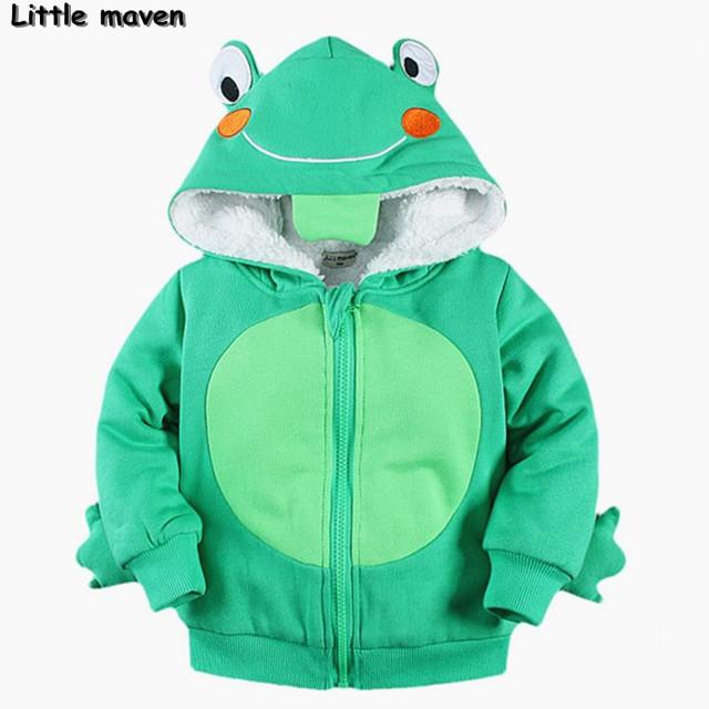 Pouco maven 2016 inverno meninos/meninas roupas de marca crianças Hoodies & Camisolas de Algodão sapo fleece casaco quente cochilando WY003