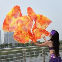 1 Pair Dance Fans 100 Silk Stage Performance Props Tie Dye 180cm Women Belly Dance Silk