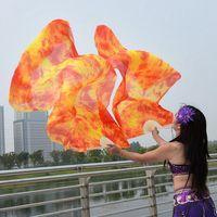 1 Pair Dance Fans 100 Silk Stage Performance Props Tie Dye 180cm Women Belly Dance Silk