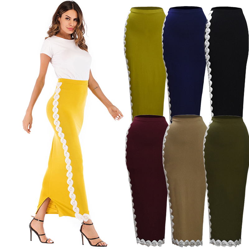 f2a71c55a86 Plus Size Faldas Mujer Moda 2018 Winter Long High Waist Lace Bodycon Maxi  Skirt Abaya Muslim Jupe Femme Skirts Womens Clothing-in Skirts from Women s  ...