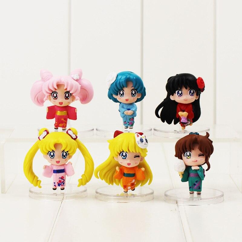 6pcs lot 5 5cm Sailor Moon Kimono font b action b font font b figure b