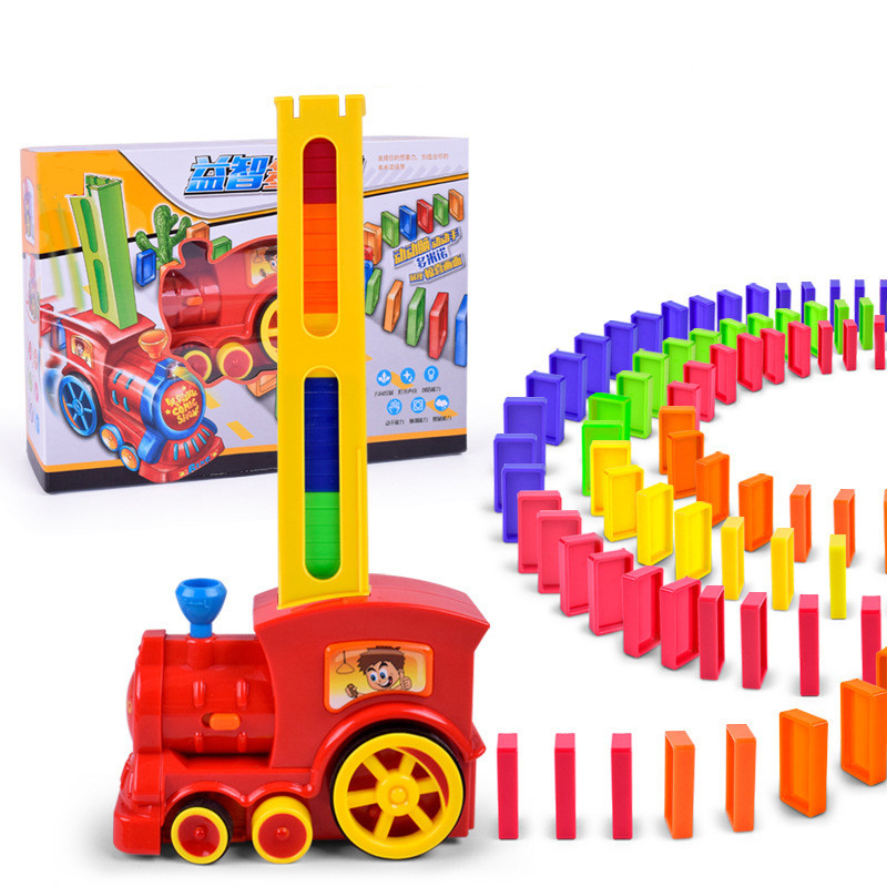 Domino automatic delivery vehicle Building blocks Domino Toy Car Wheels Locomotive Electronic Toys For Kids Birthday Gift