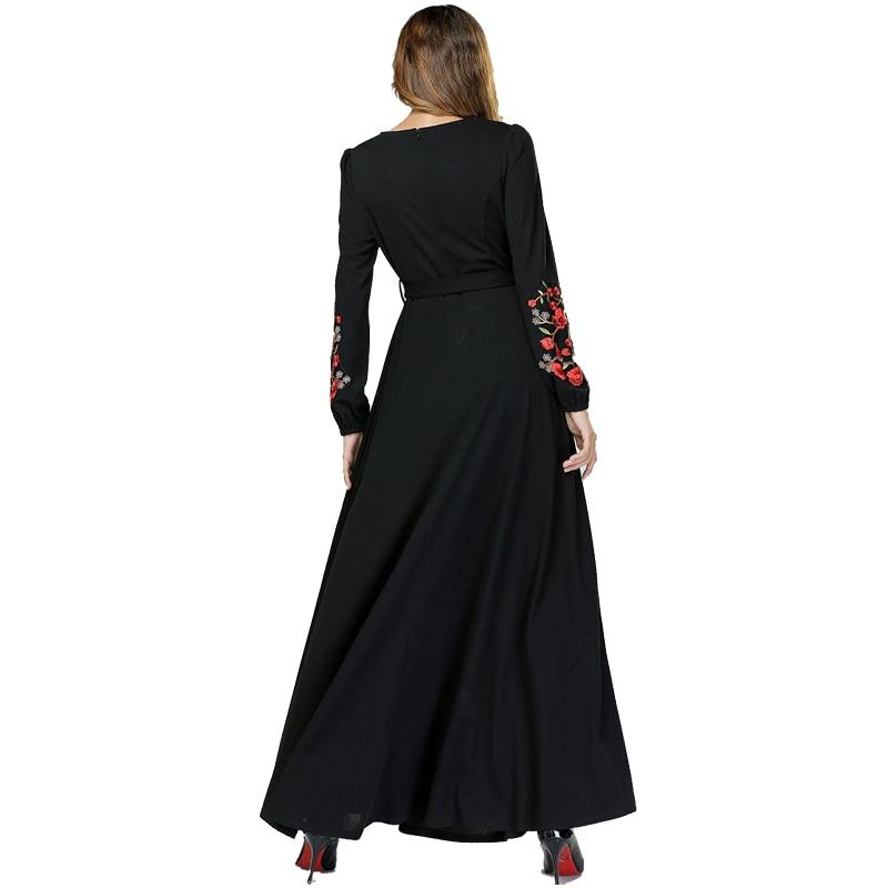 Image 5 - Black Vestidos Kaftan Abaya Dubai Arabic Hijab Muslim Dress Women Elbise Turkish Islamic Clothing Robe Musulmane Longue Dresses-in Islamic Clothing from Novelty & Special Use